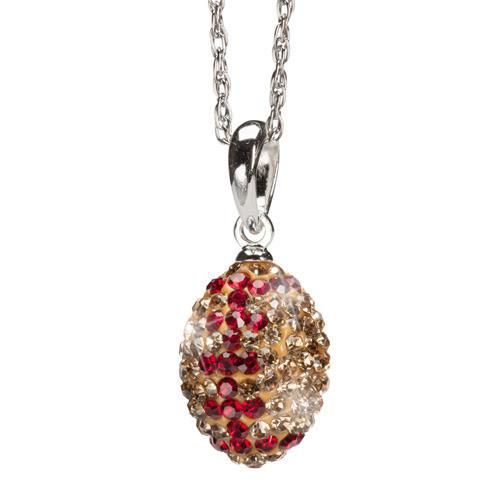 Gold and Crimson Crystal Football Charm Pendant Necklace