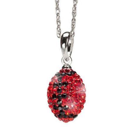 Gold and Crimson Crystal Football Charm Pendant