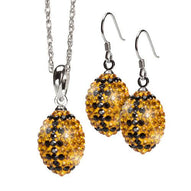 Gold and Black Crystal Football Pendant Earrings & Necklace
