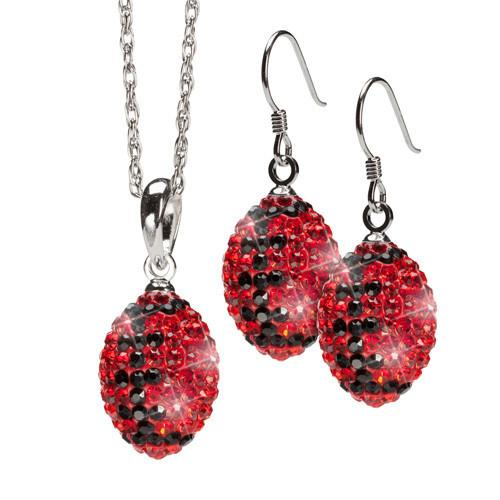 Red and Black Crystal Football Earring and Necklace Set