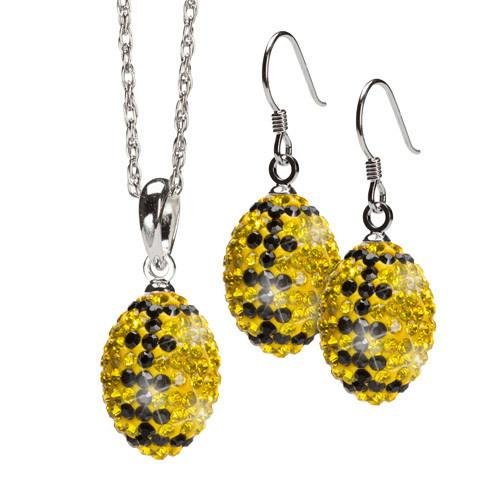 Yellow and Black Crystal Football Charm Jewelry Set