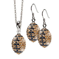 Gold and Navy Crystal Football Jewelry Two Set
