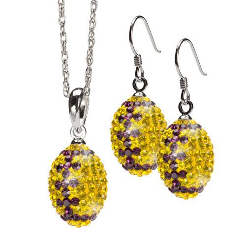 Yellow with Purple Crystal Football Charm Pendant Set