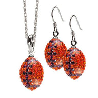 Orange and Purple Crystal Football Charm Jewelry Set