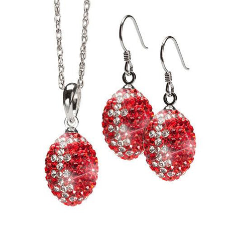 Red and Clear Crystal Football Earrings