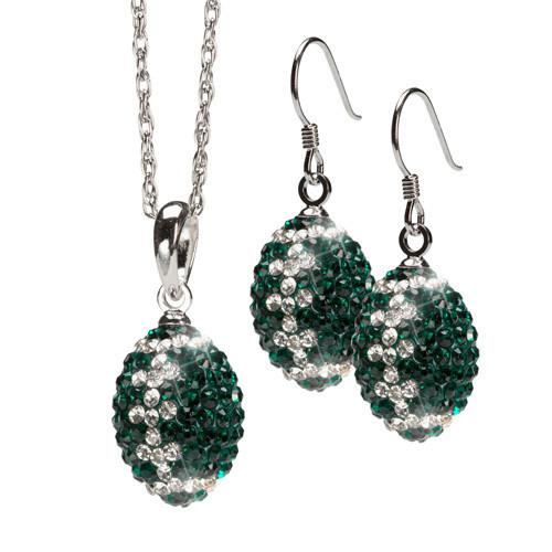 Green and Clear Crystal Football Earrings & Necklace Set