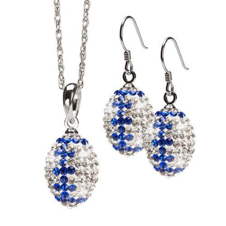 Gold and Navy Crystal Football Earrings