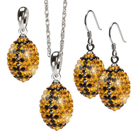 Gold and Navy Three Piece Crystal Football Pendant Set