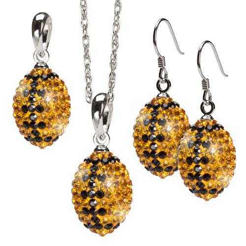 Gold and Black Three Piece Crystal Football Jewelry Set