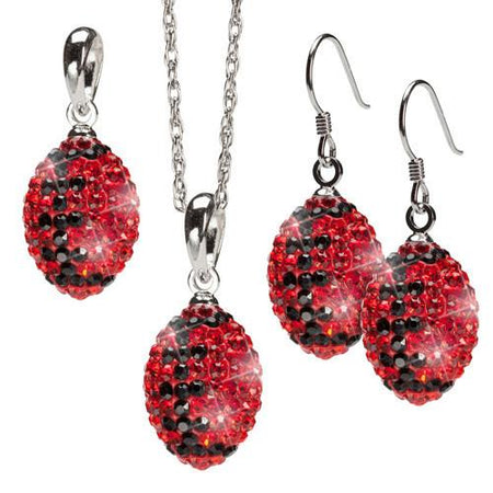 Red and Clear Crystal Football Pendant Necklace