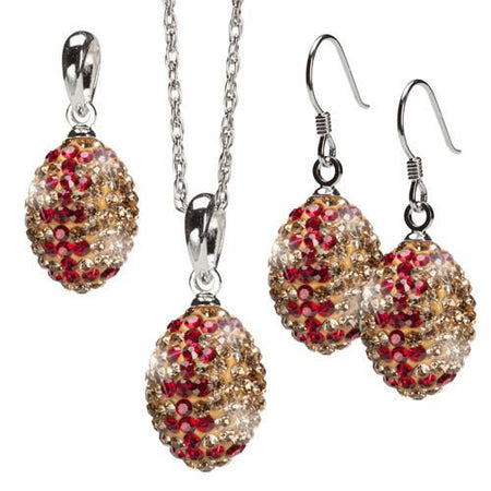 Gold and Crimson Striped Crystal Football Jewelry Set of Two