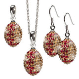 Gold and Crimson Crystal Football Charm Pendant Jewelry Set
