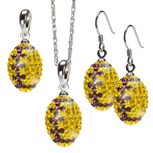 Yellow and Purple Crystal Football Pendant Jewelry Set of Three