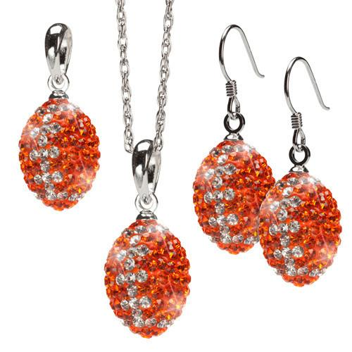 Orange and Clear Striped Crystal Football Jewelry Set