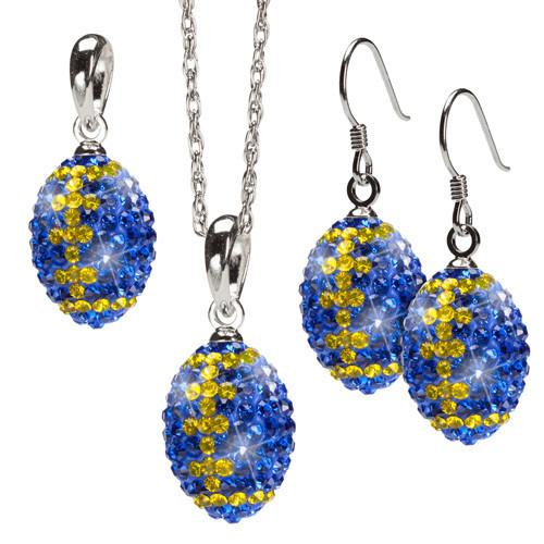 Blue and Yellow Crystal Football Jewelry Set