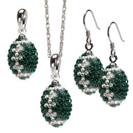 Green and Clear Crystal Football Jewelry Set