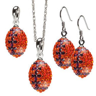 Orange with Purple Crystal Football Charm Jewelry Set