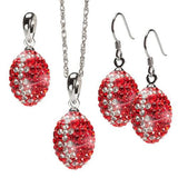 Red and Clear Football Pendant Three Piece Jewelry Set