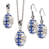 Clear and Blue Striped Crystal Charm Pendant Jewelry Set