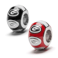 Georgia Bulldogs Bead Charm Set of Two - Red and Black Round Bead Charm Set