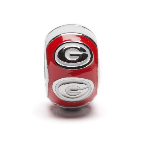 Georgia Bulldogs Bead Charm Set of Two - Red Round Stainless Steel Charms