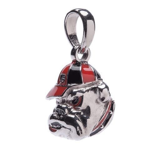 Georgia Bulldog Bead Charm Necklace with Crystals
