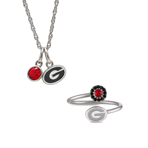 Gift Set-Love Georgia Bulldogs Ring and Necklace