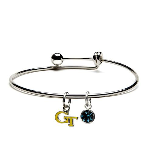 Georgia Tech Yellow Jackets Jewelry - Gold GT Dangle Charm Bracelet