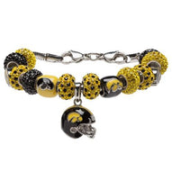 University of Iowa Hawkeye Bracelet Jewelry - Black and Gold Charm Bracelet