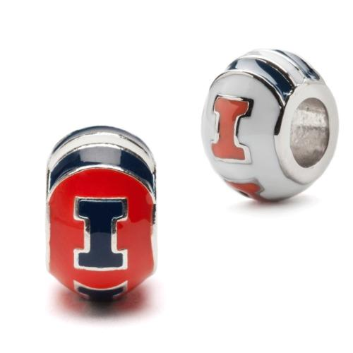 Illinois Bead Charm Set of Two -  Orange and Navy Round Charms