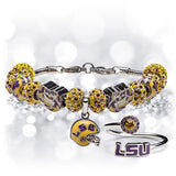 Gift Set- Ultimate LSU Fan Charm Bracelet and Ring