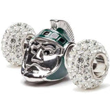 Michigan State Spartan & Clear Crystal Charm Set