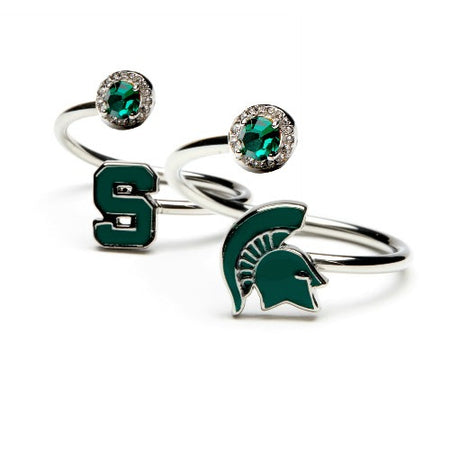 Gift Set- Ultimate Michigan State Fan Charm Bracelet and Ring