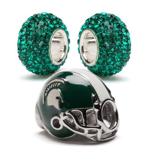 Michigan State Football Helmet Bead Charm Set of Three