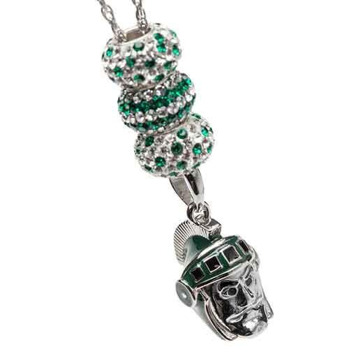 Michigan State Spartans Forever Pendant Necklace With Crystals