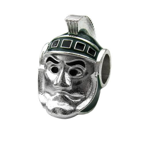 MSU Jewelry Spartan Bead Charm Set - Green Crystal Charm Jewelry Set