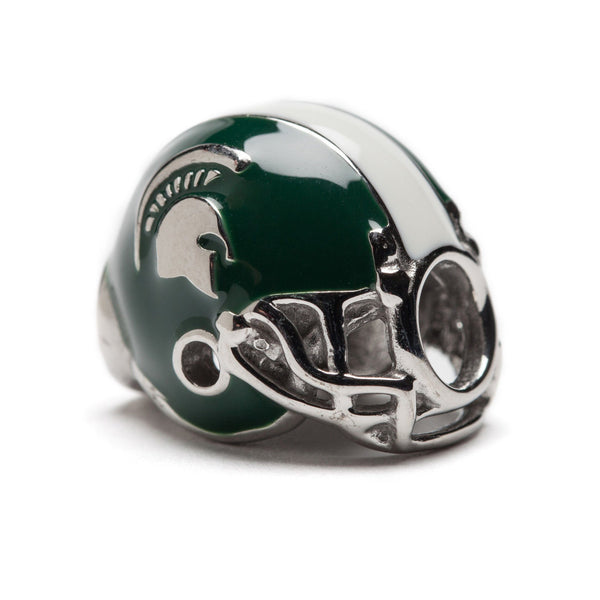Michigan State Spartans Football Helmet Go Green Go White Bead Set