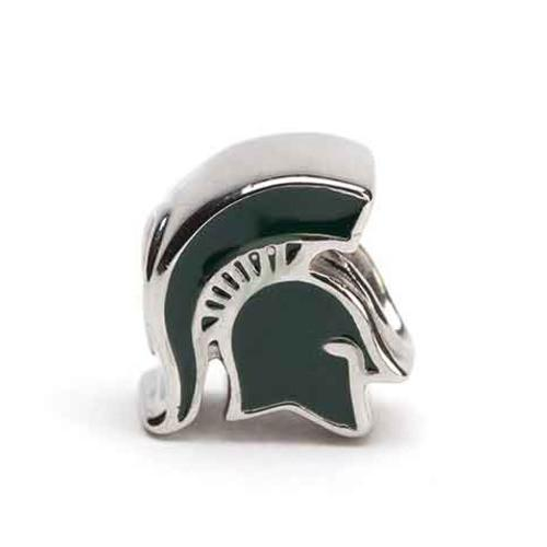 MSU Spartan Charm Bead Set of Two - Green and White Spartan
