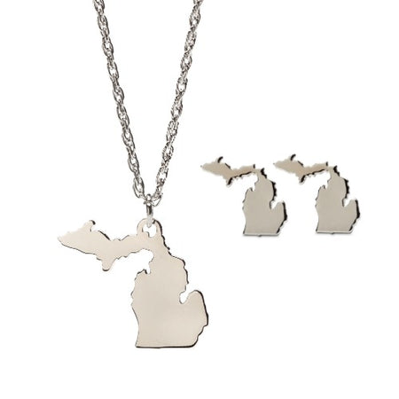 Love Michigan Map Charm Pendant Necklace