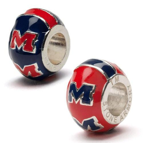 Ole Miss Red and Blue M Bead Charm Set of Two