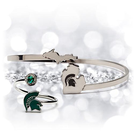Michigan State Spartans Bracelet Bangle Set of Two
