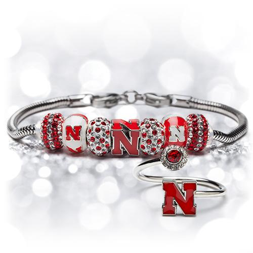 Gift Set- Ultimate Nebraska Fan Charm Bracelet and Ring