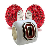 OSU Buckeye White Block O Bead Charm Set