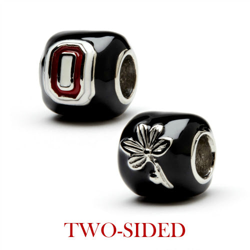 Black Ohio State Block O and Buckeye Leaf Bead