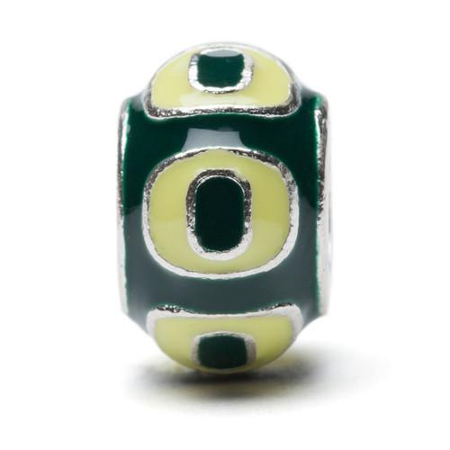 Go Ducks Oregon Bead Charm - Green and Yellow Round
