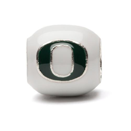 Oregon Charm Bead - White and Green Block O
