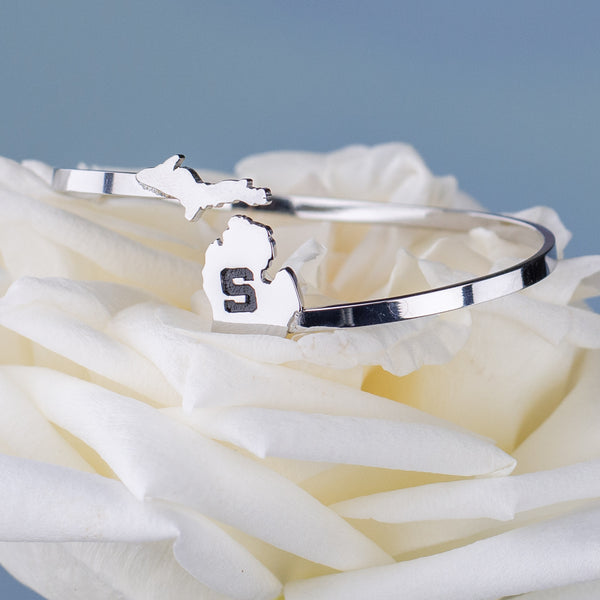 Michigan State University Spartans Jewelry Bracelet - Block S Bangle Bracelet