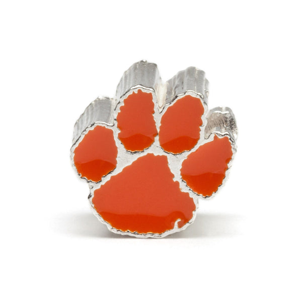 Clemson University Tiger Paw Bead Charm - Stainless Steel