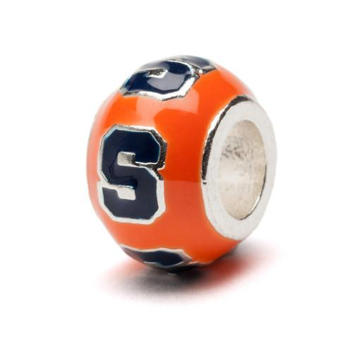 Orange and Navy Round Syracuse Bead Charm