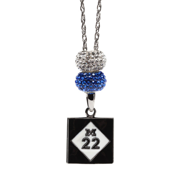 Michigan M-22 Blue and Clear Pendant Necklace